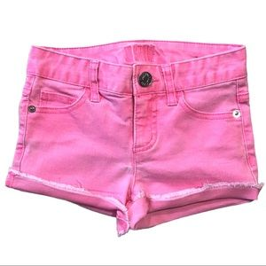 Justice Bright Pink Frayed Raw Edge Jean Shorts